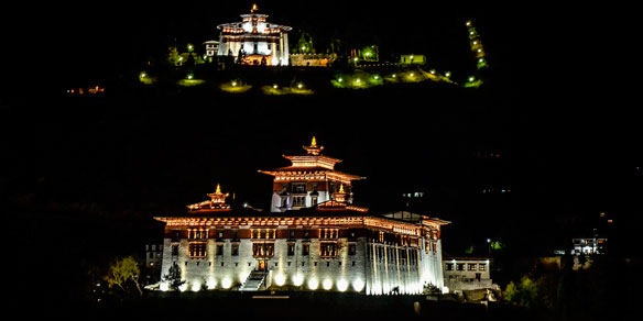 Paro Rinpung Dzong at night, Paro, Bhutan