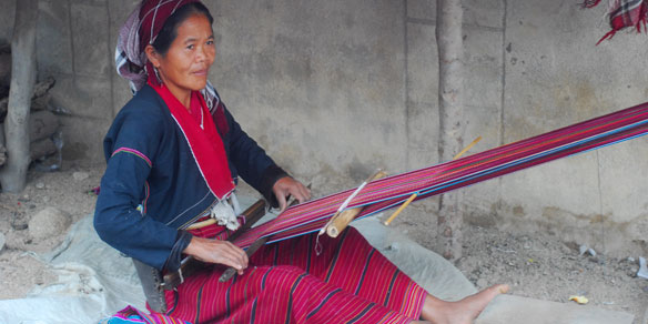 Karen woman weaving, Northern Thailand