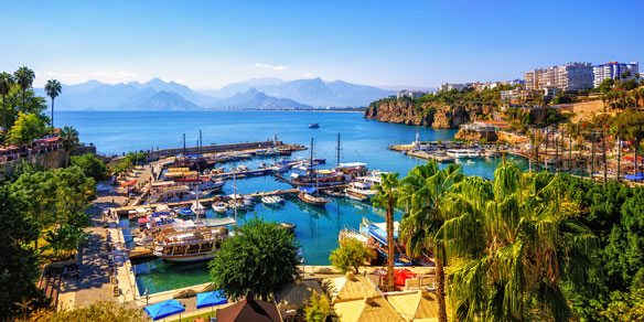 Old Port of Antalya with Taurus Mountains and Mediterrainean Sea, Antalya, Turkey