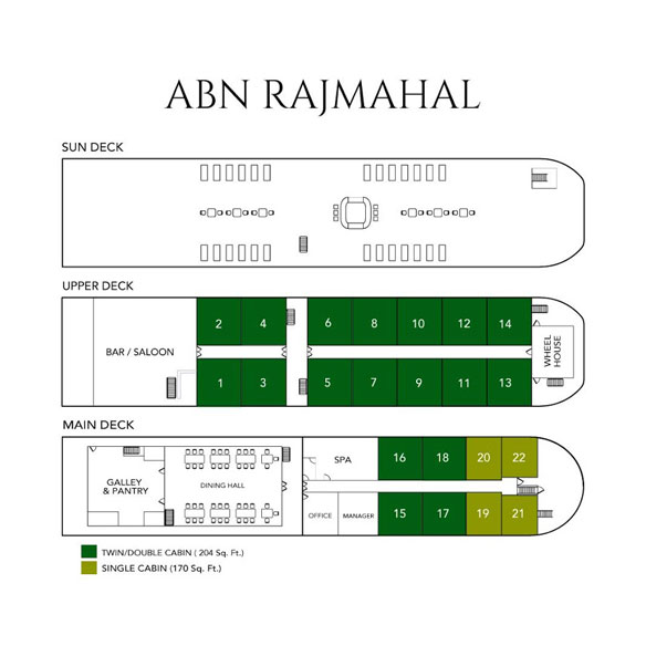 ABN Rajmahal deck plan, Bengal, India