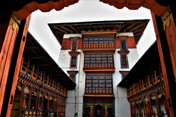 Inner view Trongsa Dzong, one of the oldest Dzongs in Bumthang, Bhutan, Asia