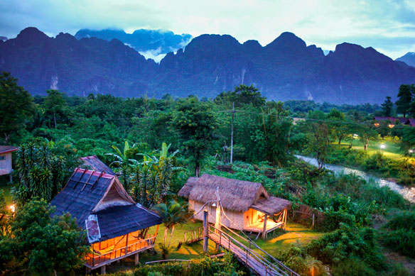 Twilight at small village in Vang Vieng, Laos