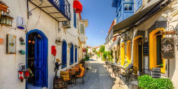 Street view of old town, Alacati, Turkey