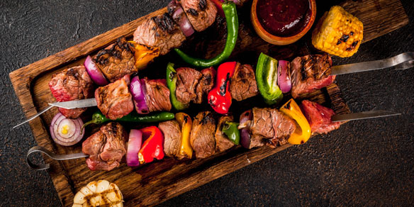 Traditional beef shish kebab with vegetables and spices, Turkey