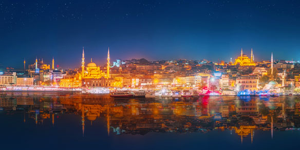 Panorama of night skyline, Istanbul, Turkey
