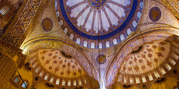 Domes of the Blue Mosque with thousands of Iznik tiles, Istanbul, Turkey