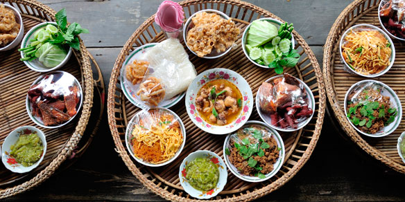 Kantoke, traditionally meal, Chang Mai, Northern Thailand