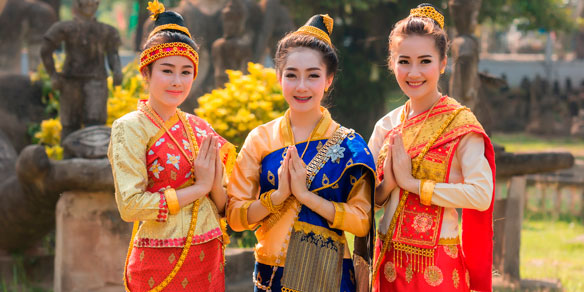 Laos women in traditional costume, Laos