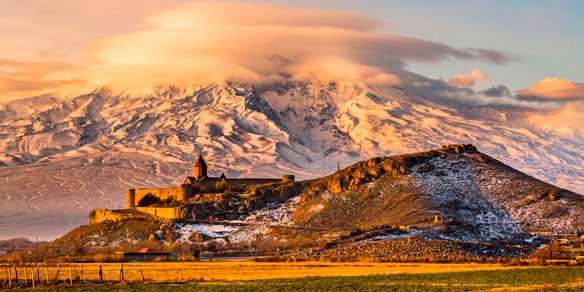Sunrise over Ararat with Khor Virap Monastery, Armenia