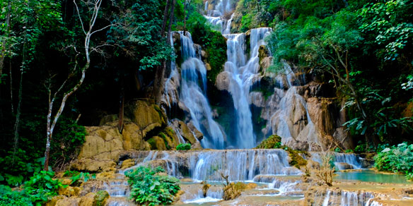 Kuang Si Falls or Tat Kuang Si Waterfalls near Lauang Praban, Laos