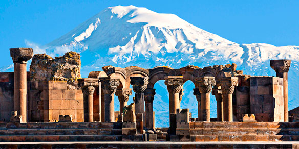 Ruins of the Temple of Zvartnots with Mount Ararat in background, Yerevan, Armenia