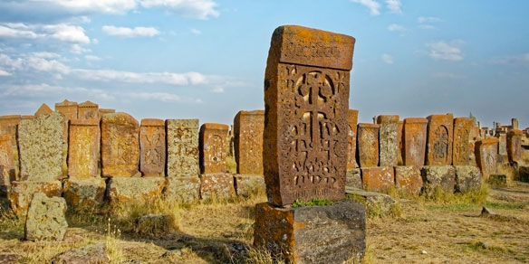 Khachkars in ancient cemetery, Noraduz, Lake Sevan, Armenia