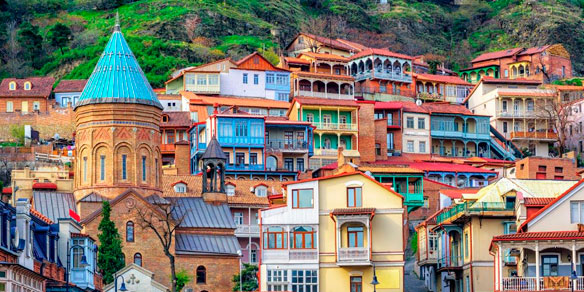 Colorful traditional houses with wooden carved balconies, Old Town of Tbilisi, Georgia