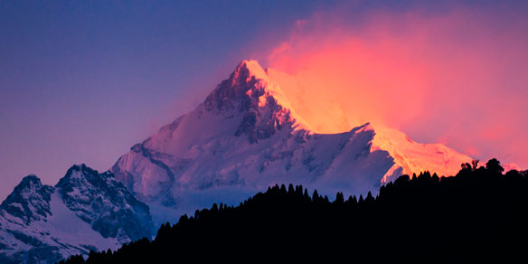 Kanchenjunga Range of the Himalayas at sunrise, Sikkim, India