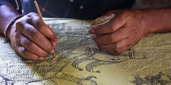 Detail of textile handpainting, Gujarat, India