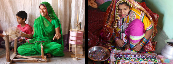 Silk and cotton weaving and intricate beadwork on fabrics, Gujarat, India