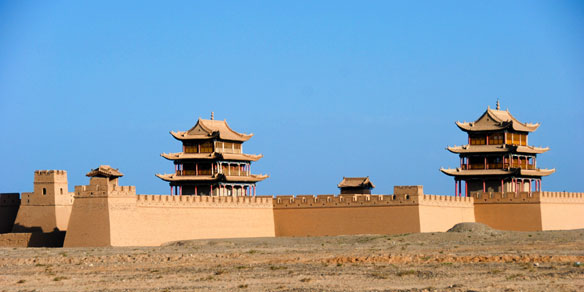 Jiayuguan Pass, western starting point of the Great Wall of China, Built during Ming Dynasty (1368-1644)