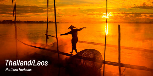 fisherman on the Mekong River at sunrise, Nong Khai province, Laos